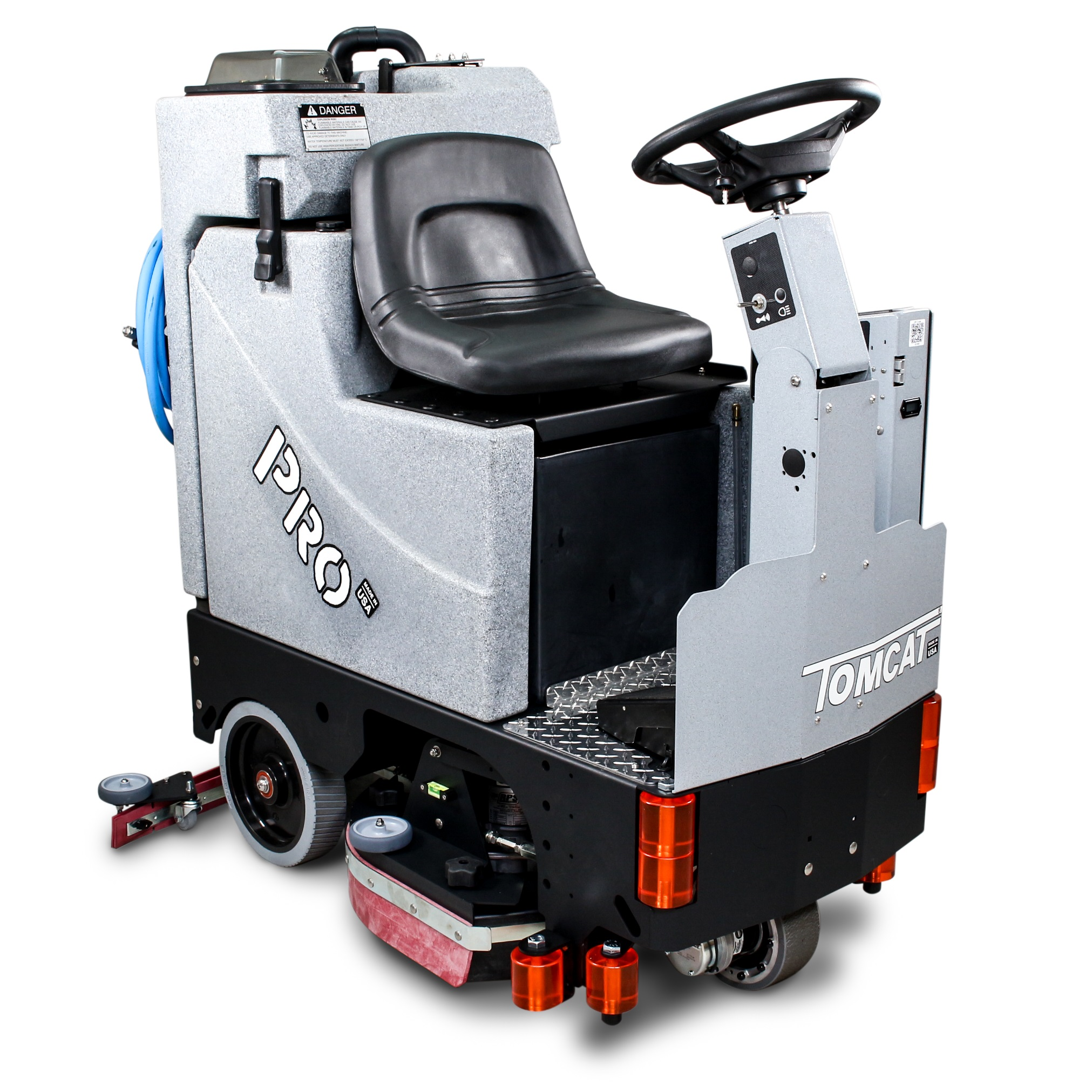 Compact yet powerful ride-on scrubber with the EDGE scrub system.